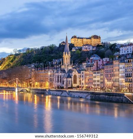 View of river saone at night, Lyon, France - stock photo