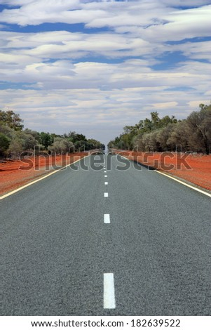 view of road in outback Australia in New South Wales - stock photo