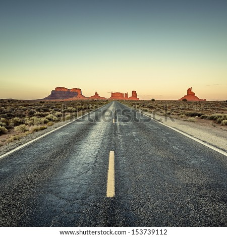 view of road to Monument Valley, USA - stock photo