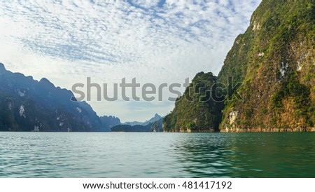 View of rocks in Cheow Lan Lake, Thailand, Khao Sok National Park at Suratthani
