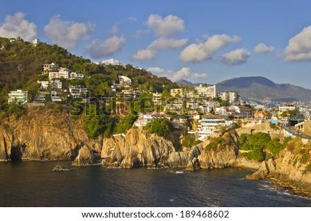 View of rocky coast of Acapulco, Mexico  - stock photo