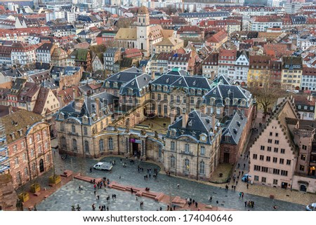 View of Rohan Palace in Strasbourg - Alsace, France - stock photo