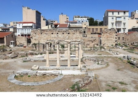 View of roman agora in Athens, Greece - stock photo