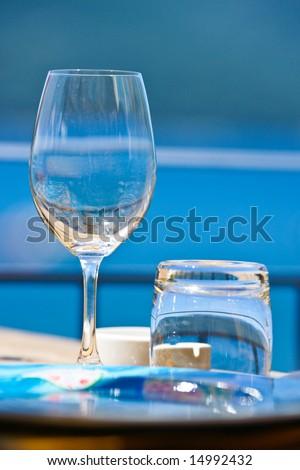 View of romantic table on the sea. Isle of Elba. - stock photo