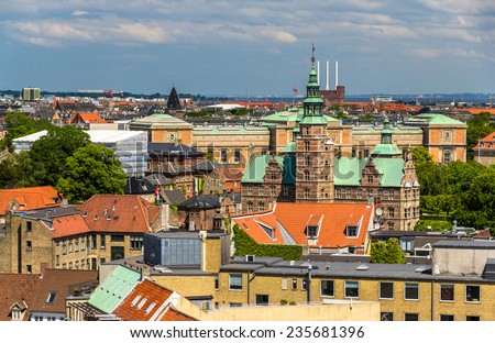 View of Rosenborg Castle from The Round Tower in Copenhagen - stock photo