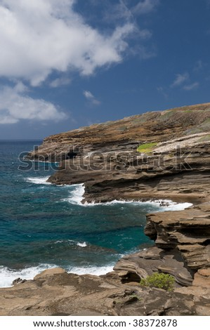 View of rugged coast from Lanai Lookout, on the east shore of Oahu, Hawaii - stock photo
