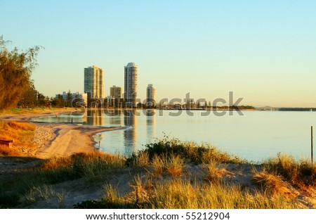 View of Runaway Bay on the Gold Coast in Australia from the Broadwater at sunrise. - stock photo