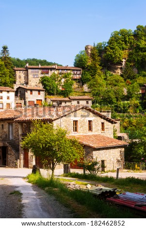 view of Rupit - Catalan village in Pyrenees. Catalonia, Spain