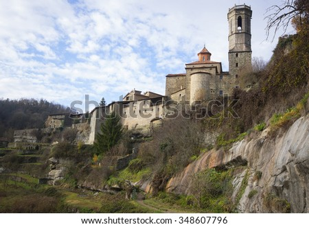 View of Rupit,one medieval village in Catalonia.Spain - stock photo