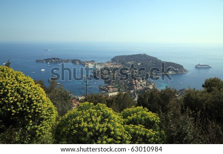 View of Saint Jean Cap Ferrat on the French Riviera. A place where multimillionaires gather and have residences. - stock photo