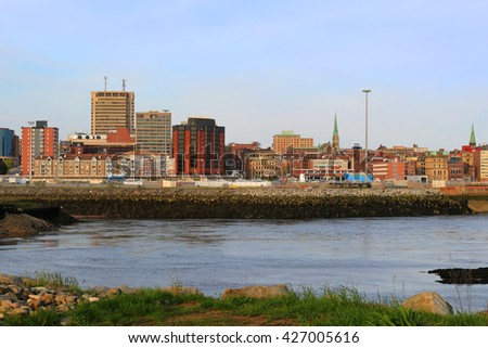 View of Saint John, New Brunswick, in the evening on the Bay of Fundy in the Maritime Provinces of Canada - stock photo
