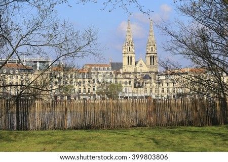 View of Saint-Louis Church in Chartrons district from the other side of Garonne River, Bordeaux, France