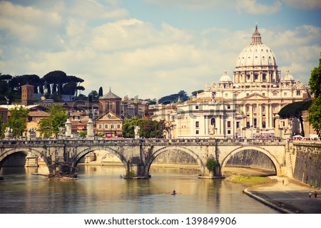View of Saint Peter cathedral and bridge Saint Angel, Rome, Italy - stock photo