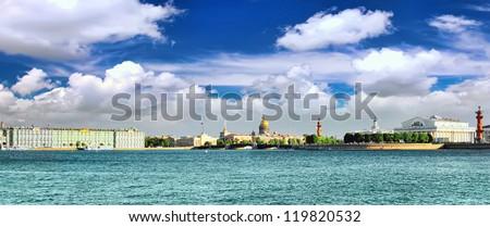 View of Saint Petersburg from Neva river. Russia.Panorama - stock photo