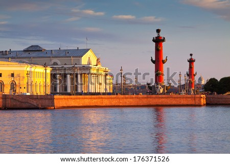 View of Saint Petersburg.  Spit of Vasilievsky Island  in summer morning - stock photo