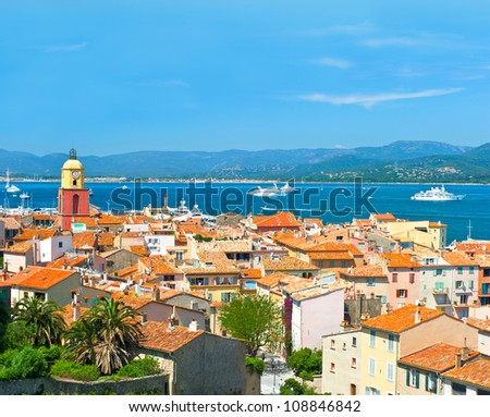 View of Saint-Tropez with seascape and blue sky. France, french riviera - stock photo