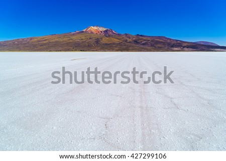 View of Salar de Uyuni the world largest salt flat in Bolivia - stock photo