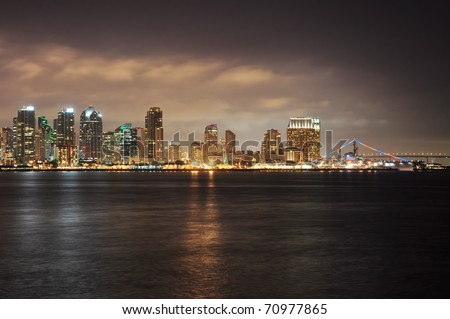 View of San Diego, California at night. - stock photo