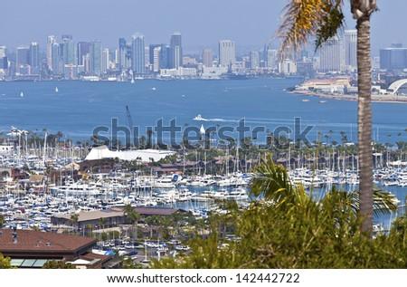 View of San Diego skyline hazy atmosphere from Point Loma Island California. - stock photo