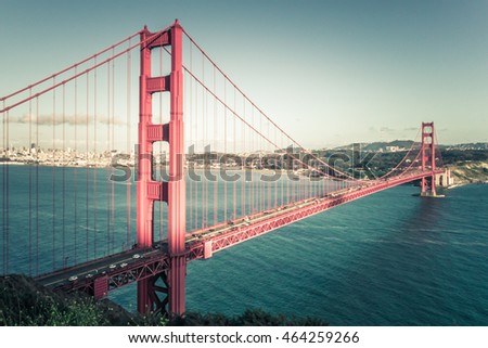 View of San Francisco and Golden Gate Bridge in late afternoon vintage- Golden Gate bridge over ocean in California in USA San Francisco
