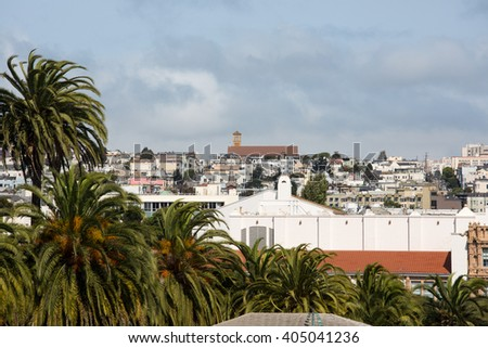 View of San Francisco buildings from Liberty hill - stock photo