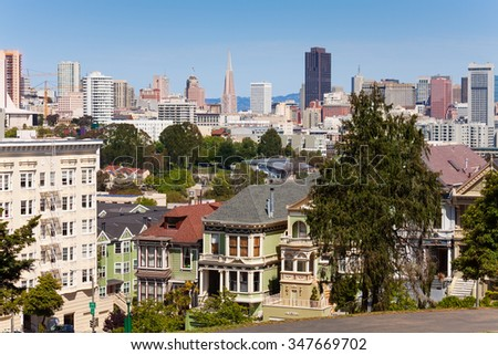 View of San Francisco from  Alamo square - stock photo