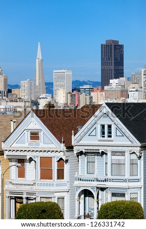 view of San Francisco from Alamo Square, San Francisco, USA - stock photo