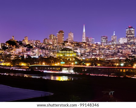 View of San Francisco from the Presidio with Crissy Field and the Palace of Fine Arts in the foreground and Russian Hill in the distance - stock photo