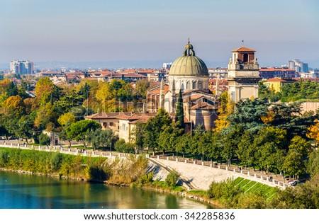 View of San Giorgio in Braida church - Verona - stock photo