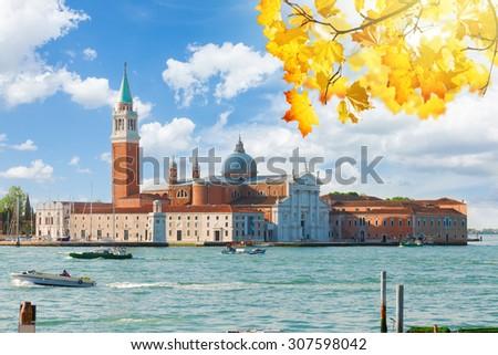 view of San Giorgio island at fall day, Venice, Italy - stock photo