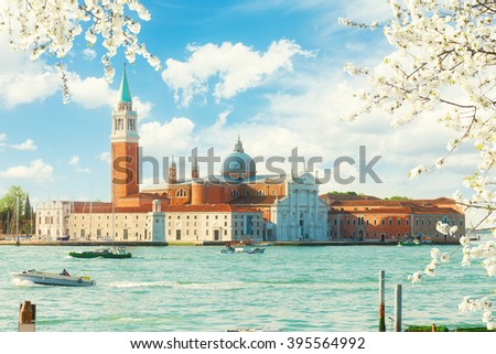 view of San Giorgio island at sunny spring day, Venice, Italy - stock photo