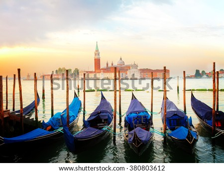view of San Giorgio island at sunrise, Venice, Italy, retro toned - stock photo
