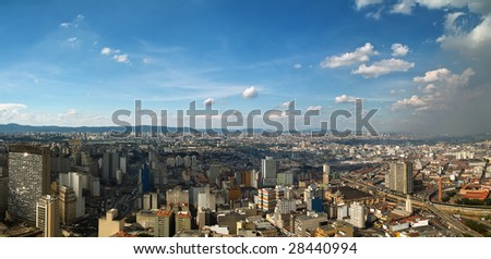View of San Paolo skyline from the banesco building, Brazil - stock photo