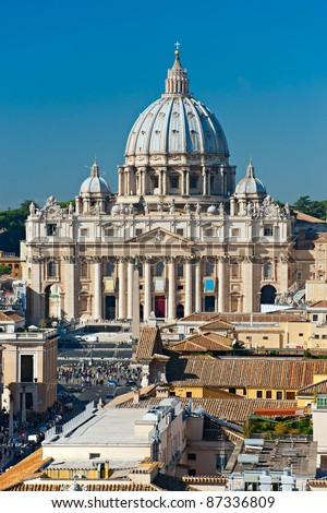 View of San Peter square, Rome, Italy. - stock photo