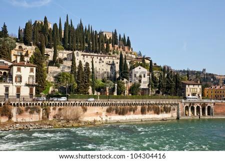 View of San Pietro Castle in Verona, Italy - stock photo