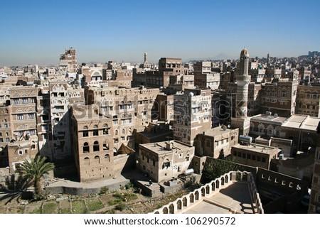 View of Sanaa, Yemen. - stock photo