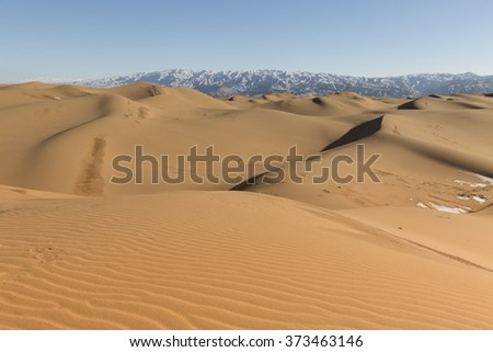 View of sand dunes and mountains in Shapotou National Park - Ningxia, China.