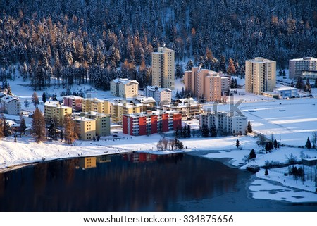 View of Sankt Moritz Bad and its lake during winter season - stock photo