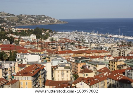 View of Sanremo city in spring ( Liguria, Italy )