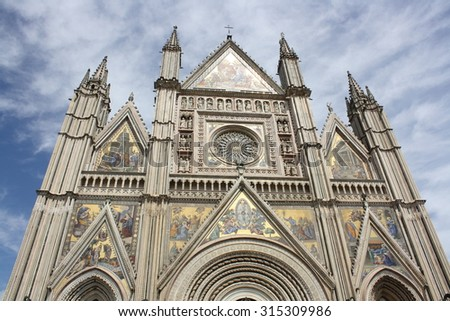 View of Santa Maria Assunta Cathedral ( Umbria, Orvieto, Italy ) - stock photo