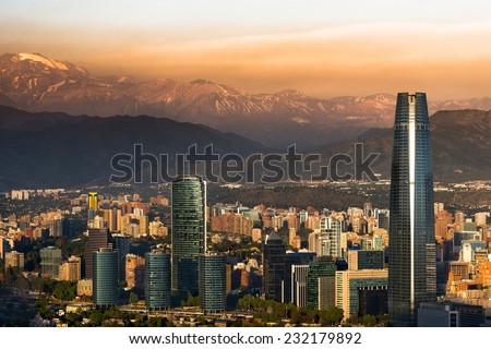 View of Santiago de Chile with Los Andes mountain range in the back - stock photo