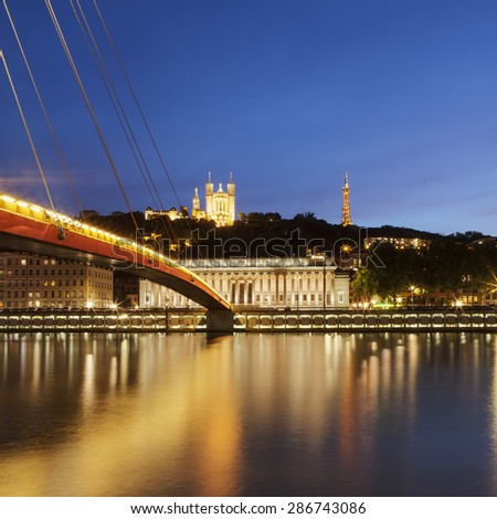 View of Saone river at late sunset in Lyon city, France - stock photo