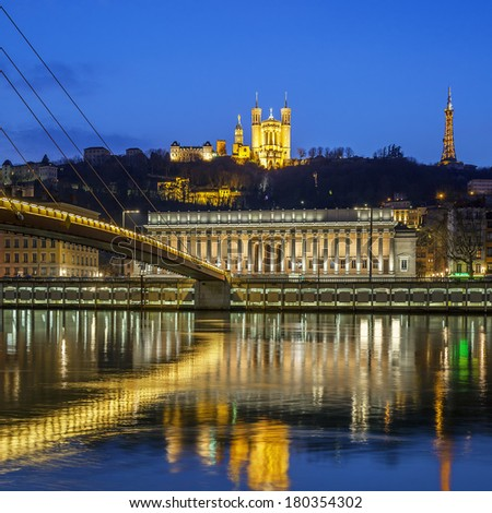 View of Saone river at Lyon by night, France - stock photo