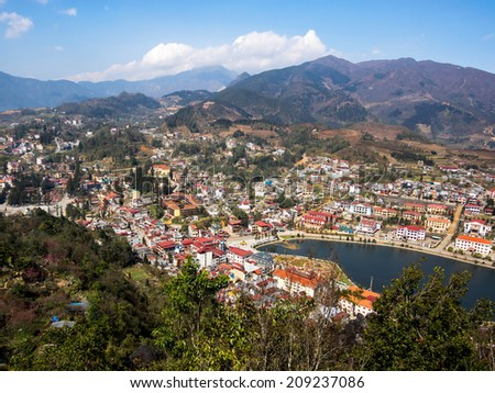 View of Sapa Town, Lao Cai Province, North Vietnam.