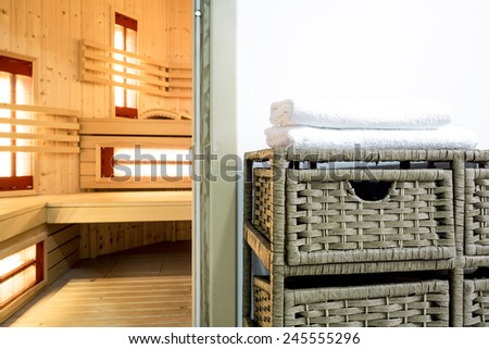 View of sauna area in modern house - stock photo