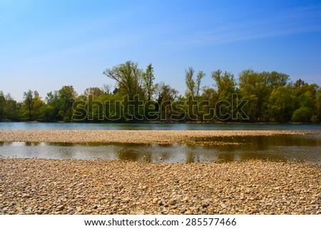View of scenic Ticino river in Italy - stock photo