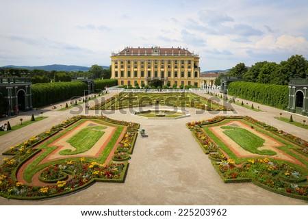 View of Schonbrunn Palace in Vienna, Austria - stock photo