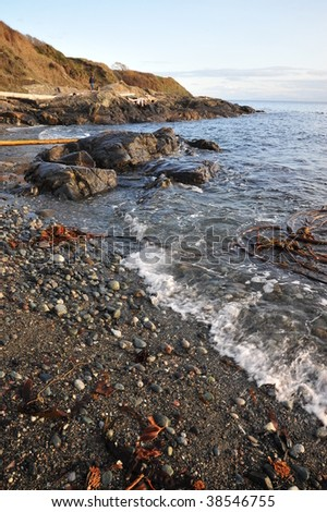 View of sea and shore in sunset moment, victoria, british columbia, canada