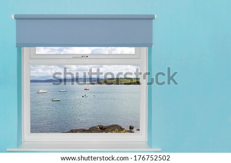View of sea harbour with boats from a window - stock photo