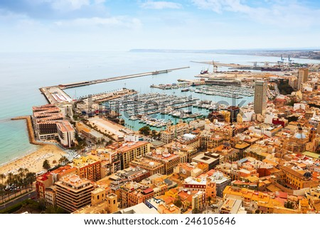 View of seaside part of Alicante and port. Spain - stock photo